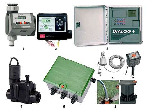 En 1, programmateur pour robinet ; diamètre de sortie : 20/27 ou 26/34 ; 14 programmes prédéfinis ; fonctionne avec pile alcaline 9 V, 6LR61 offrant 1 an d'autonomie ; pression : 0,5-12 bars ; réf. : T 14E ; prise pour pluviomètre électronique ou sonde d'humidité. En 2, programmateur à pile relié par câble TBT aux postes à commander (de 2 à 8). Se monte sur la conduite principale dans un regard : 3 programmes indépendants. Réf. DDCWP. En 3, programmateur électronique pouvant commander de 8 à 48 stations (avec adjonction de modules d'extension). Possible 8 programmes par jour. Cycles d'arrosage régulables à la journée ou sur une semaine. Nombreuses fonctions, dont batterie de secours rechargeable. Montage mural. Alimentation primaire : 230 V/50 Hz ; circuits 27 V. En 4, électrovanne à double filtration résistant à une eau chargée. Possibilité de configuration sur circuit en ligne ou réseau multiple. Débit 0,24 à 4,5 m3/h, pression 1 à 10,4 bars à 23 °C. Entrée et sortie Ø 20/27 ou 26/34. Série DV. En 5, regard prémonté 4 voies (1 entrée, 3 sorties) pour électrovannes de 9 ou 24 V de la marque. Branchement rapide par vissage télescopique, boîtier de câblage étanche pour la connexion des électrovannes de 24 V. En 6, pluviomètre à disques hygroscopiques, compatible avec des programmateurs de toutes marques. Livré avec support de fixation pour gouttière. Réf. RainSensor TRS câblé. En 7, sonde d'humidité à système de mesure électrothermique. Bouton de programmation du taux d'humidité souhaité. Fonctionne avec les programmateurs de la marque. Réf. 1188-20. En 8, prise d'eau enterrée pour branchement de tuyau mobile au moyen d'un raccord « aquastop » intégré. En connectant le tuyau, l'eau coule. En le déconnectant, elle s'arrête aussitôt. Résiste au gel grâce à son système de purge incorporé. © gardena, Toro