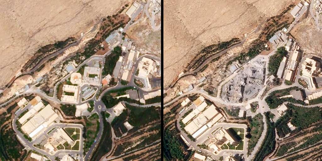 Images des dégâts après que les États-Unis, ainsi que la France et la Grande-Bretagne, ont lancé des frappes militaires sur trois sites soupçonnés de faire partie du programme d'armes chimiques de la Syrie. © 2018 Planet Labs, Inc.