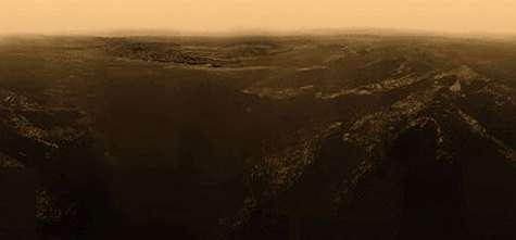 L'un des panoramas réalisés par des amateurs à partir des images brutes de Huygens (Courtesy of Christian Waldvogel's)