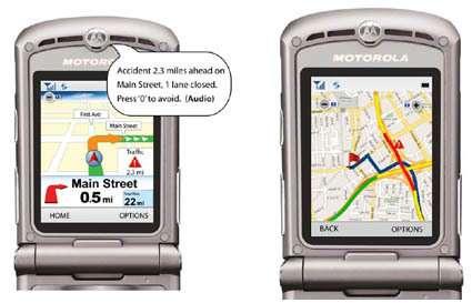 Le Telenav, de Motorola, embarque un GPS et peut se connecter au service payant Traffic, qui sera mis en place en juillet 2007 aux États-Unis. Grâce à des capteurs sous la chaussée et aux informations GPS transmises par les flottes de camions, les bouchons sont repérés. Sur leurs Telenav, les abonnés voient s'afficher une alerte si un embouteillage est sur la route. Crédit : Motorola