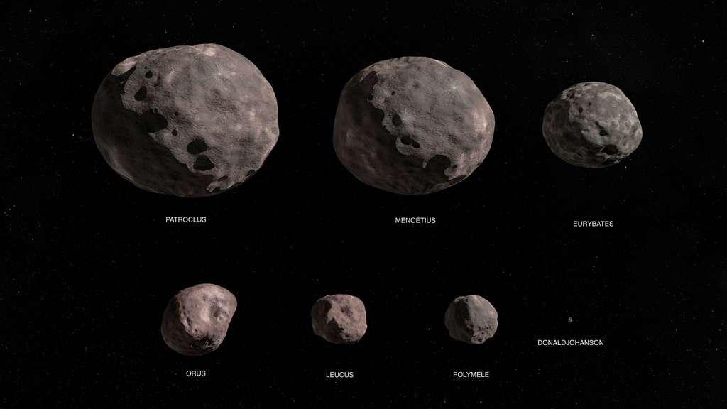Les sept astéroïdes que survolera et étudiera Lucy au cours de sa mission. © Nasa's Goddard Space Flight Center Conceptual Image Lab