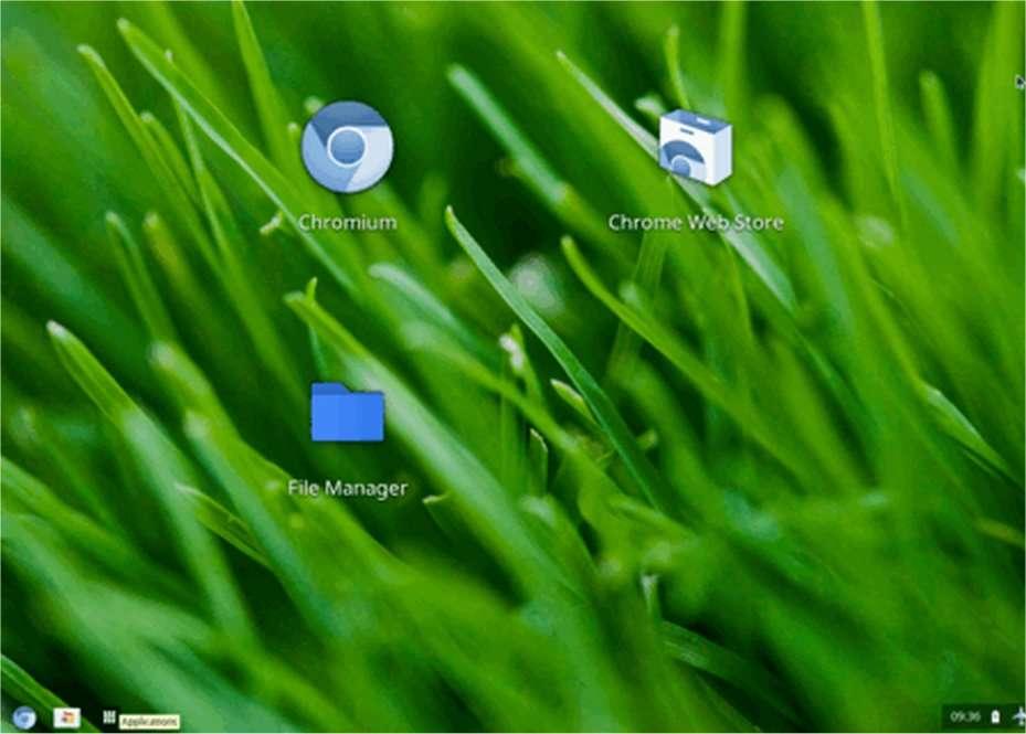 Chrome OS ressemble beaucoup à Windows 7 avec son bouton rond. Toutefois, celui-ci ne permet que de lancer le navigateur Chrome OS. Pour lancer les applications, il faut cliquer sur la troisième icone à gauche de la barre des tâches transparente. © E. P./Futura-Sciences