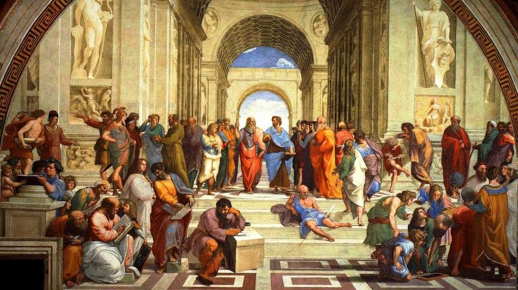 Dans la grande fresque L'école d'Athènes peinte par Raphaël, il se murmure que le peintre aurait figuré Hypatie d'Alexandrie (au centre de la moitié gauche), seule femme de l'assemblée. Ce qui n'aurait pas été du goût du commanditaire, le pape Jules II. Il se pourrait que Raphaël ait dit qu'il s'agissait en réalité de Francesco Maria della Rovere, le neveu du souverain pontife. Il est fort possible que ce soit Hypatie, et ce serait alors sa première réapparition après des siècles d'oubli (ou presque). © Musée du Vatican