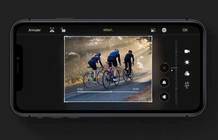 Les outils de retouche photo sont disponibles pour améliorer vos vidéos. © Apple