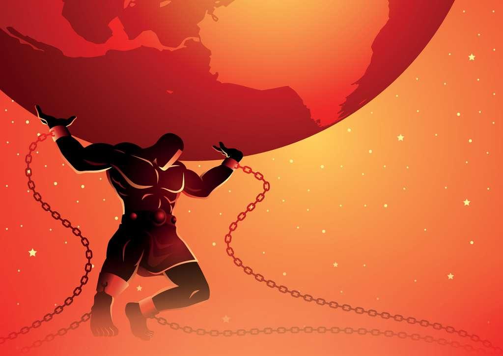 Dans la mythologie grecque, Atlas est un titan condamné à porter le poids du monde sur ses épaules. Pour l'éternité. © Rudall30, Adobe Stock
