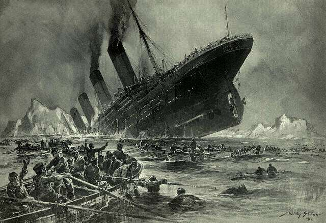 Illustration du naufrage du Titanic. © Willy Stöwer, Wikimedia Commons
