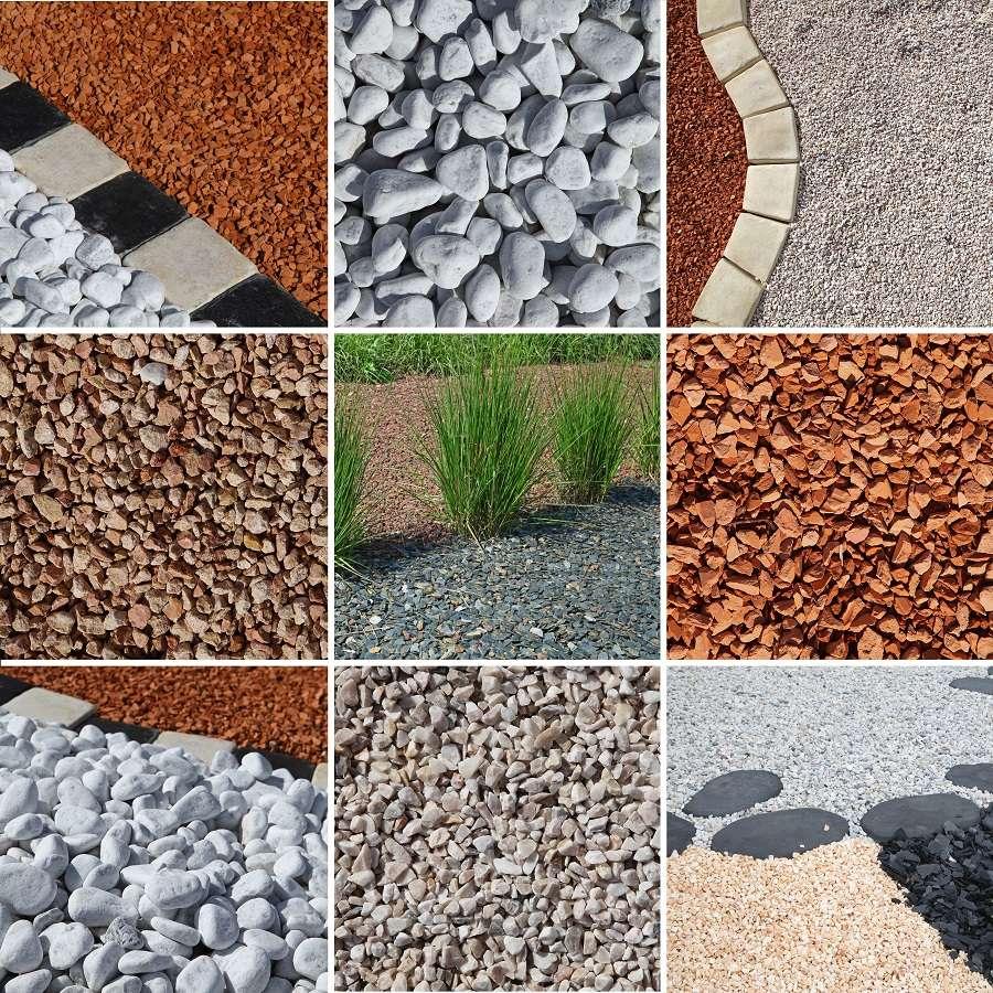Large choix de paillis minéral : graviers, galets, ardoise, pouzzolane, briques et bien d'autres. © hcast, Adobe Stock