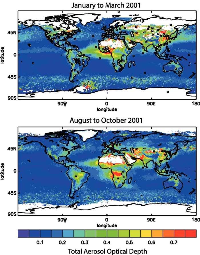 La répartition mondiale du taux d'aérosols (ici exprimé en profondeur optique totale d'aérosol variant de 0 à 1) est largement inégale. Les zones rouges indiquent les régions où le taux d'aérosol est maximal. Ces cartes montrent le taux moyen d'aérosols saisonnier, entre janvier et mars 2001 pour la carte du haut et entre août et octobre 2001 pour celle du bas. La répartition saisonnière des aérosols évolue beaucoup : c'est principalement dû à la combustion de la biomasse et des activités industrielles. © IPCC