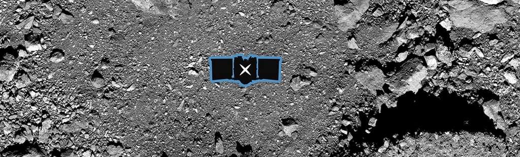Le site de Nightingale, le principal site de collecte d'échantillons d'Osiris-Rex sur l'astéroïde Bennu. Une illustration à l'échelle de la sonde a été ajoutée. © Nasa, Goddard, University of Arizona, Lockheed Martin, United Launch Alliance