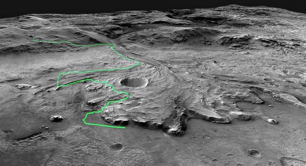 La possible route qu'emprunterait Perseverance dans les jours et semaines à venir, à la recherche de roches à étudier. © Nasa, JPL-Caltech
