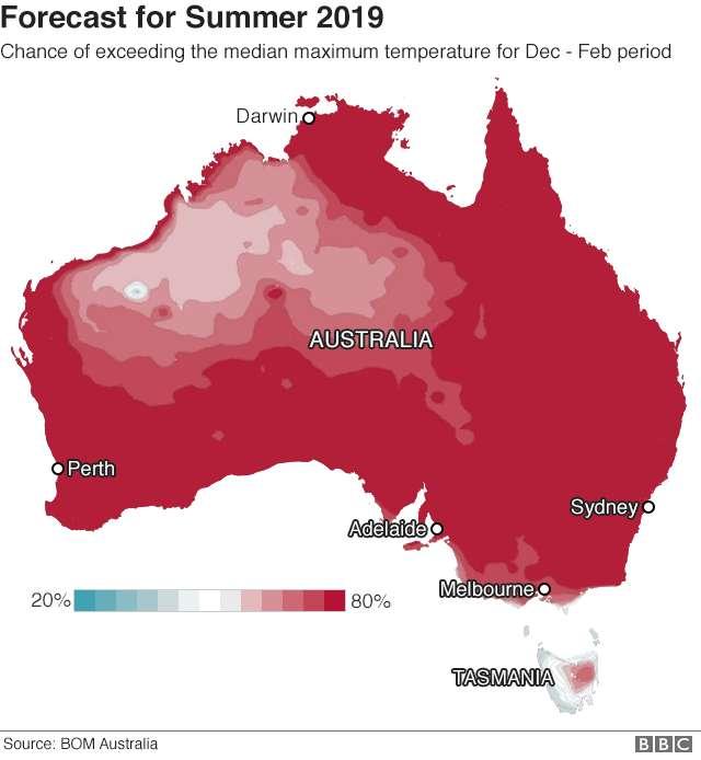 Les prévisions de sécheresse pour l'été 2019 en Australie. Presque la totalité du pays connaîtra une sécheresse exceptionnelle. © BOM Australia, BBC