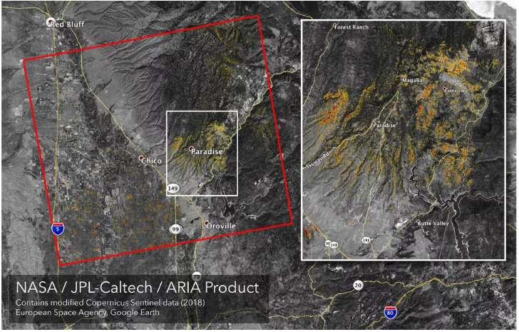 Carte montrant le territoire dévasté par le « Camp Fire » au nord de la Californie, au 10 novembre. Le rectangle rouge mesure 88 sur 77 km. La petite ville de Paradise, qui comptait 27.000 habitants, a été entièrement brûlée. © Nasa/JPL-Caltech