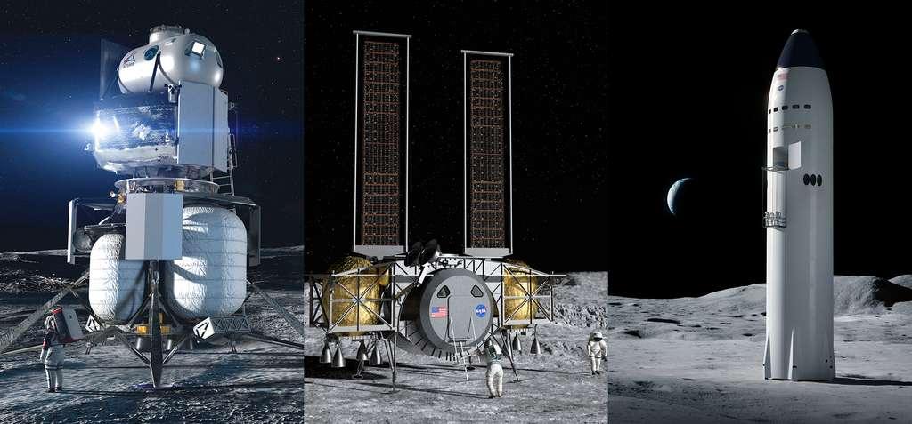 Concepts d'atterrisseurs lunaires à l'étude dans le cadre du programme Artemis de la Nasa. Cet atterrisseur servira à descendre les équipages sur la surface de la Lune depuis l'orbite lunaire et les ramènera en orbite. De gauche à droite, le projet de Blue Origin, de Dynetics (auquel participe Thales Alenia Space) et celui de SpaceX. © Blue Origin, Dynetics, SpaceX, Nasa