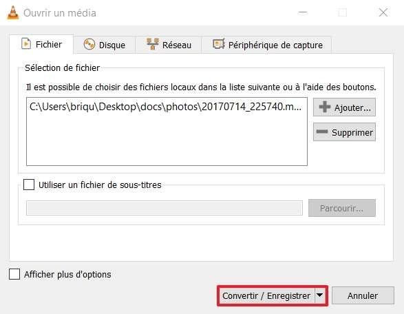 Cliquez sur « Convertir / Enregistrer ». © VideoLAN Organization