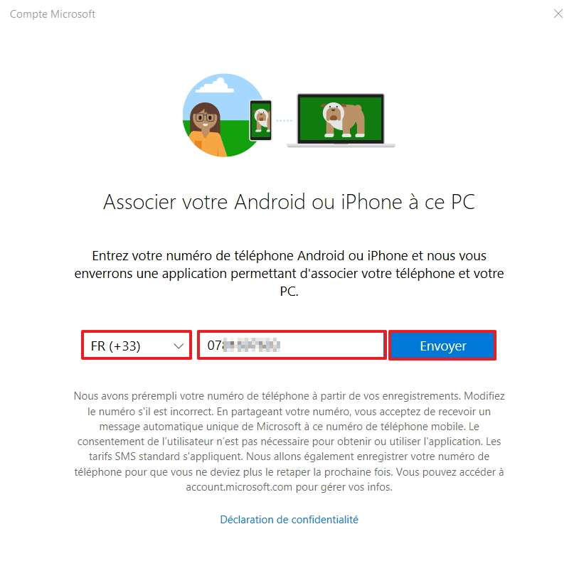 Cliquez sur « Téléphone » pour passer à l'étape suivante. © Microsoft