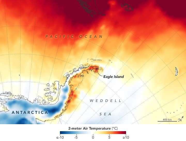 Les températures relevées autour d'Eagle Island, le 9 février 2020, à deux mètres au-dessus du sol. Des températures positives et parfois même, supérieures à 10 °C. © GEOS-5, Nasa