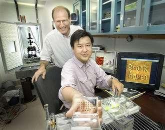 Benjamin Ocko et Yuguang Cai, du Brookhaven Lab, fiers de leur Electro Pen Nanolithography, capable d'écrire des motifs composés d'une seule couche moléculaire.