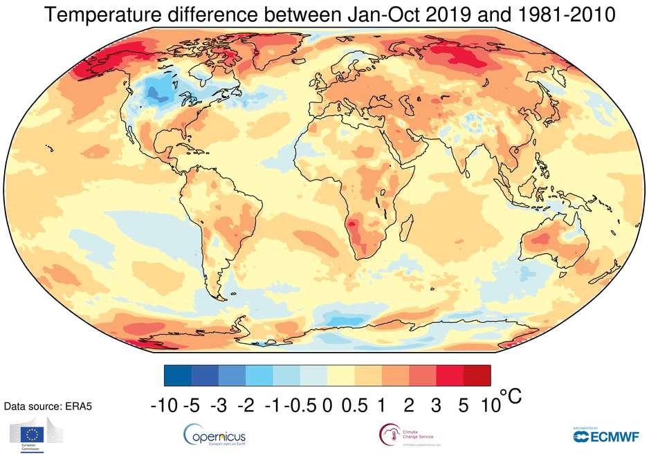 Les dix premiers mois de 2019 ont été particulièrement chauds, un peu partout dans le monde. Et plus encore en Arctique. © Organisation météorologique mondiale