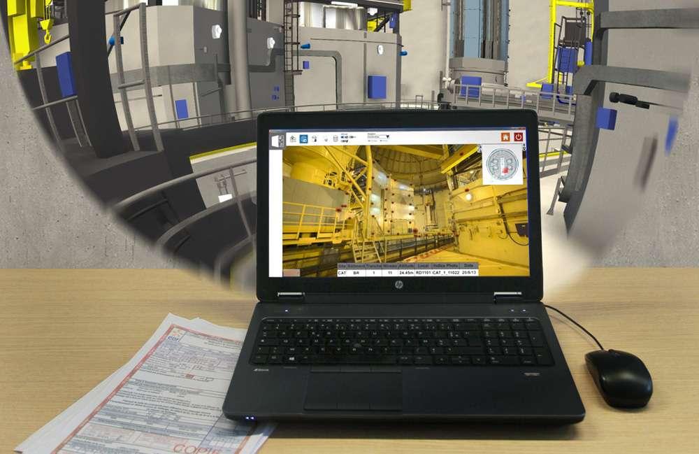 Avec VVProPrépa, l'écran de l'ordinateur montre les détails numérisés de l'intérieur de la centrale (ici celle de Cattenom), de façon à préparer une visite de maintenance. © EDF