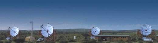 Photographie des 4 télescopes de l'expérience HESS en Namibie