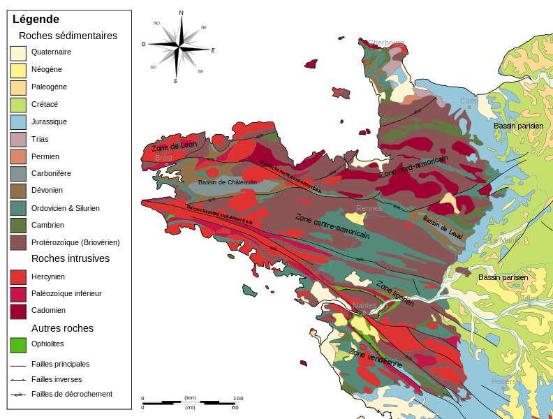 La carte du Massif armoricain présente, ici, les différents types de roches sédimentaires. © Woudloper, Sémhur/Wikipédia