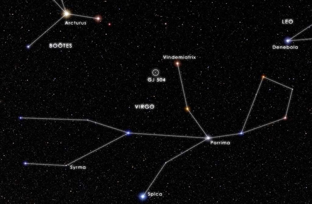Comme le montre ce schéma, il n'est pas difficile de voir sur la voûte céleste l'étoile autour de laquelle tourne l'exoplanète GJ 504b. Il suffit de regarder avec une bonne paire de jumelles la constellation de la Vierge. © Nasa's Goddard Space Flight Center