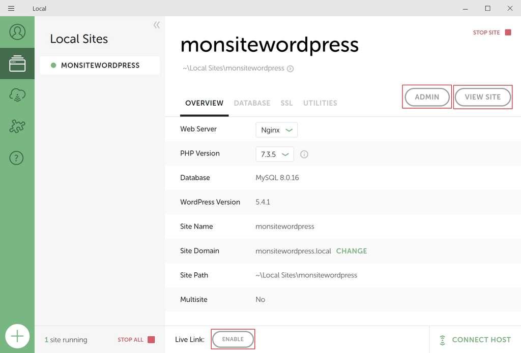 Le site est en ligne! Les trois boutons principaux sont «Admin», «View Site» et «Enable». © Flywheel