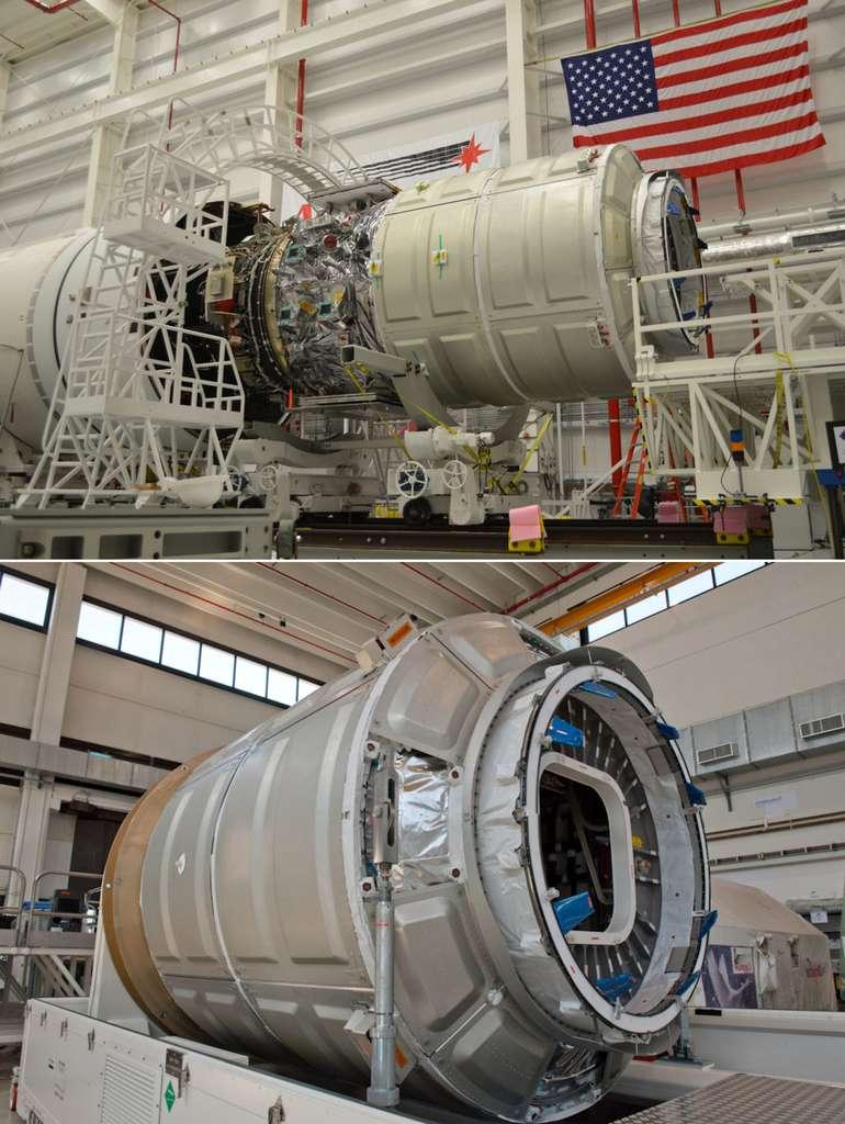 Installation du cargo Cygnus dans le lanceur Antares (en haut). Le module pressurisé du Cygnus (en bas) construit par Thales Alenia Space en Italie, pourrait être utilisé pour la construction d'un véhicule spatial habité. © Rémy Decourt, Futura-Sciences, Orbital Sciences, Thales Alenia Space
