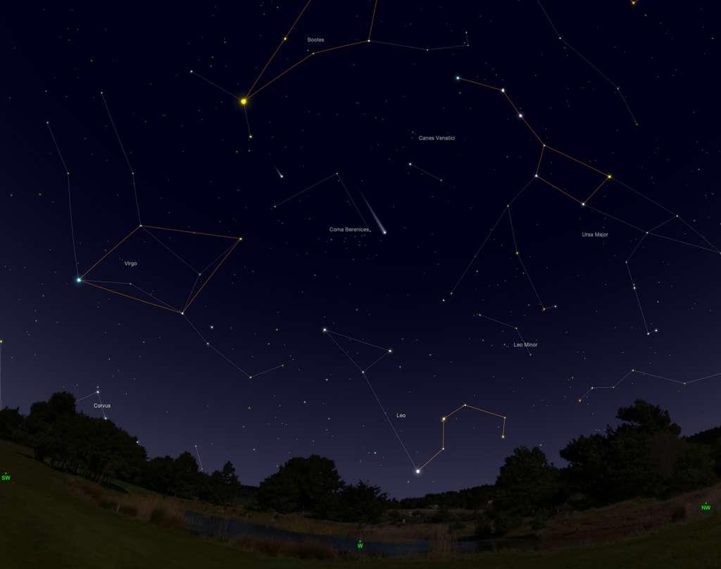 Position de la comète Neowise le 30 juillet après le coucher du Soleil. © SkySafari