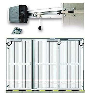 Porte de garage automatique à basculement latéral. Voir ci-dessous. © DR
