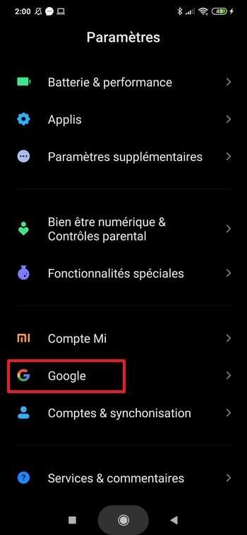 Allez dans la section « Google » des paramètres. © Xiaomi Corporation