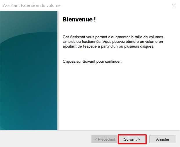Cliquez sur « Suivant » après avoir lancé l'assistant « Extension du volume ». © Microsoft
