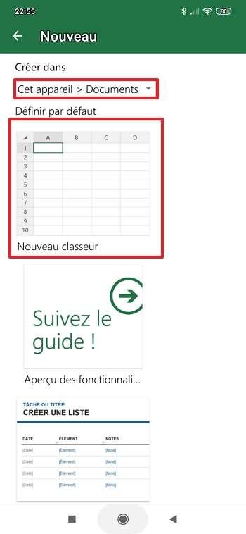 Définissez où sera sauvegardé le fichier, puis appuyez sur « Nouveau classeur ». © Microsoft