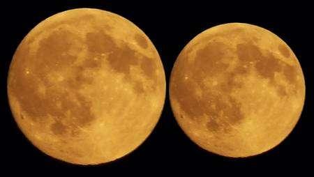 Différence de la taille apparente de la Lune au périgée (à gauche) et à l'apogée (à droite). Crédit J-B Feldmann