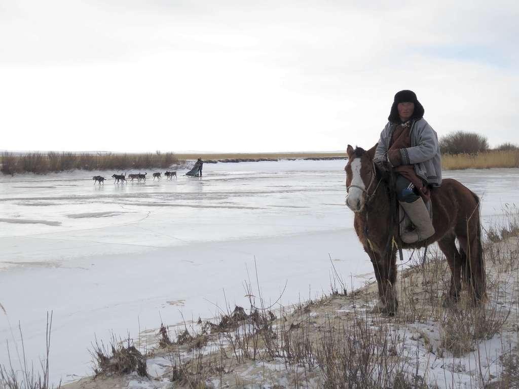 Les rivières gelées tracent la route pour le traîneau, mais la steppe est faiblement recouverte par la neige. © Taïga