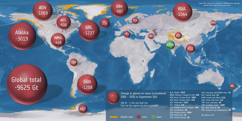 Perte de masse des glaciers autour du monde en 50 ans. © ESA