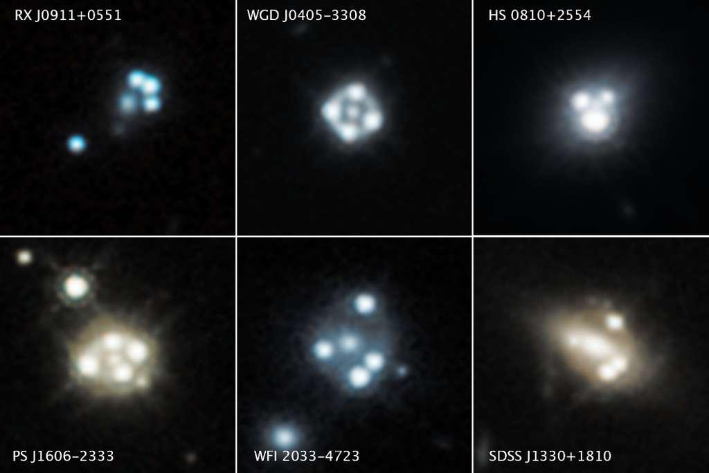 Chacun de ces instantanés du télescope spatial Hubble révèle quatre images déformées d'un quasar d'arrière-plan et de sa galaxie hôte entourant le noyau central d'une galaxie massive de premier plan. La gravité de la galaxie massive de premier plan agit comme une loupe en déformant la lumière du quasar dans un effet appelé lentille gravitationnelle. Les images ont été prises entre 2015 et 2018. © Nasa, ESA, A. Nierenberg (JPL) et T. Treu (Ucla)