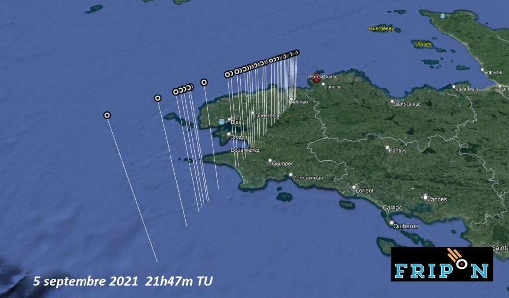 Point de chute hypothétique de la météorite du dimanche 5 septembre 2021. © Fripon, Vigie-Ciel