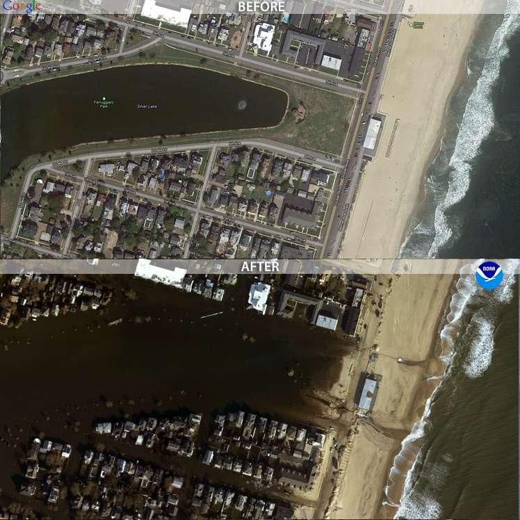 Le lac de Sylvan, à Belmar, au sud de New York, n'a pas tardé à se confondre à l'océan. L'image « avant » vient de Google Earth et l'image « après » a été obtenue grâce aux avions de la NOAA. © NOAA