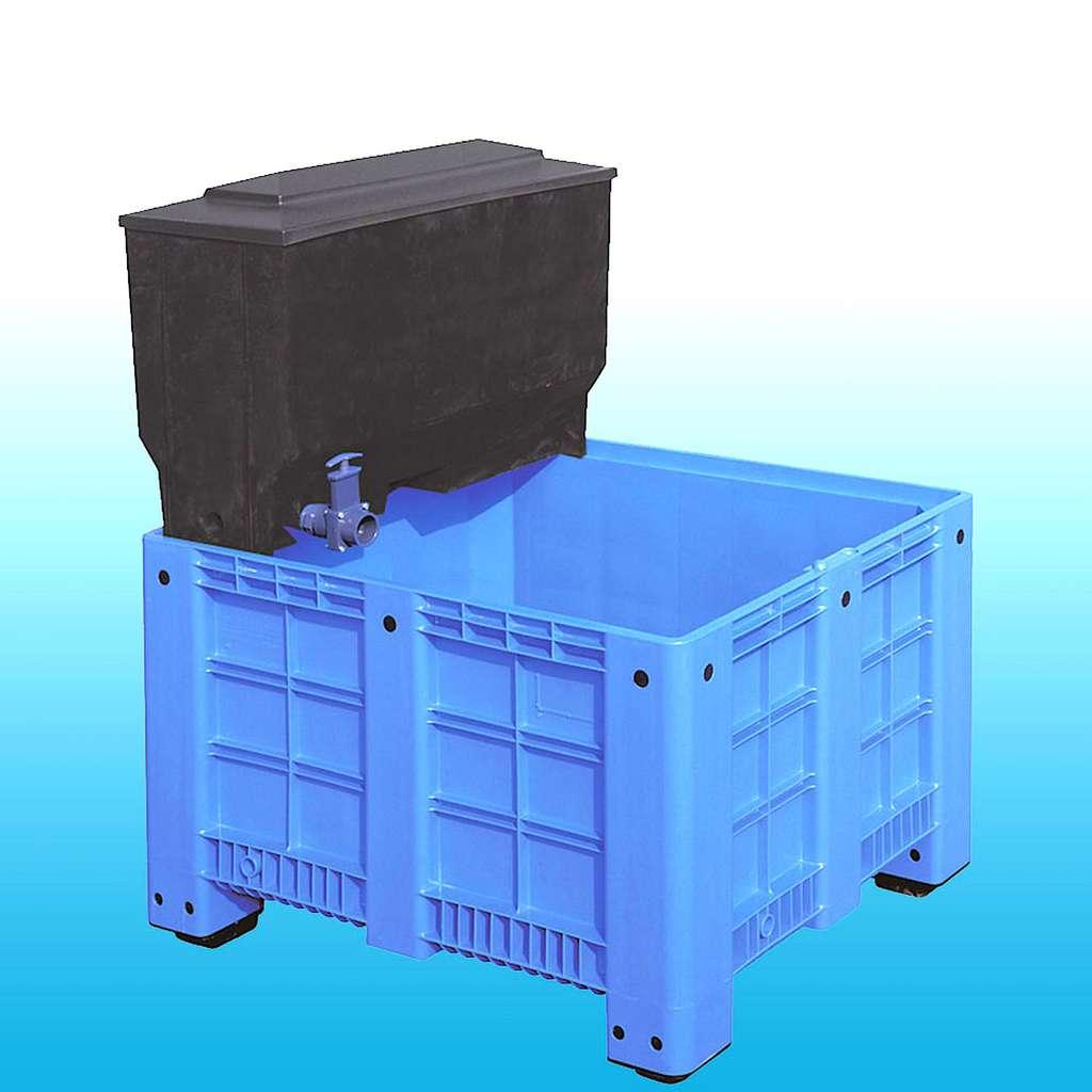Bac de quarantaine en matière synthétique, disponible en plusieurs formats avec filtration en nid-d'abeilles, assistée ou non par une pompe. © normandiekoi.com