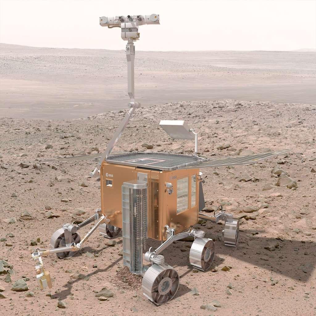 Sans le Skycrane de la Nasa, l'Esa va devoir trouver un système d'atterrissage pour poser sur Mars le rover ExoMars 2018. © Esa