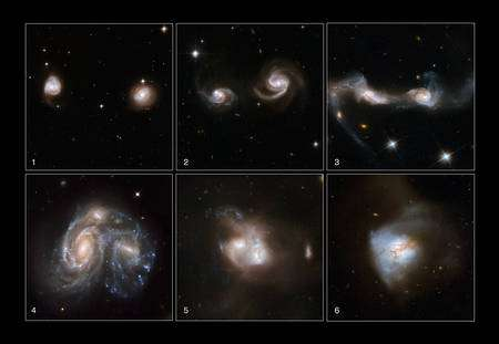 Cliquer pour agrandir. Plusieurs collisions de galaxies permettent de reconstituer les différentes étapes d'un processus s'étalant sur des centaines de millions d'années. © NASA, ESA, the Hubble Heritage Team (STScI/AURA)-ESA/Hubble Collaboration, A. Evans (University of Virginia, Charlottesville/NRAO/Stony Brook University), K. Noll (STScI), J. Westphal (Caltech)