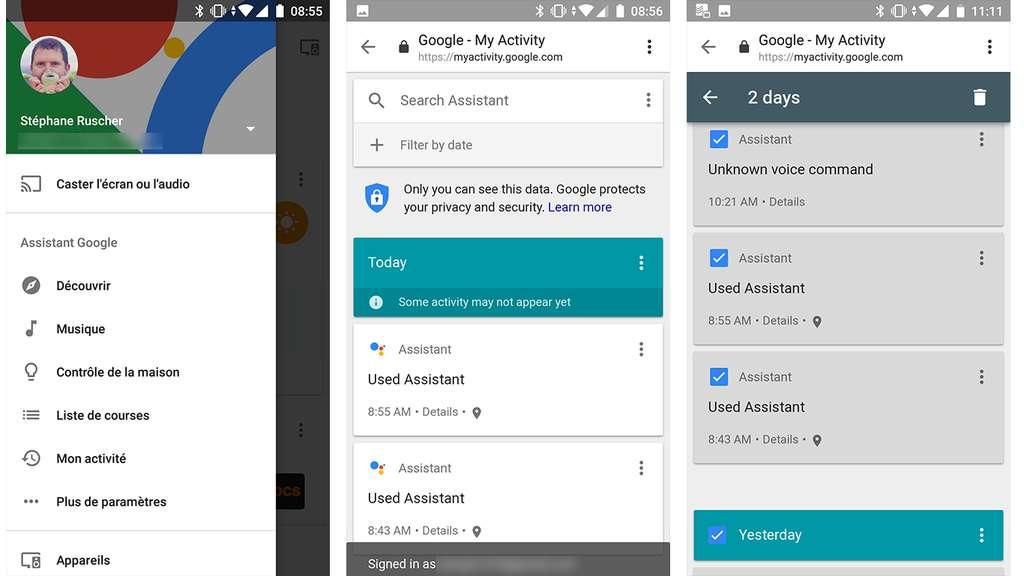 Google propose un site dédié pour gérer vos données Google Assistant. © S.R.