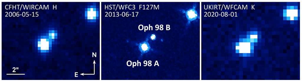 Images du système binaire Oph 98 par le CFHT (gauche), Hubble (milieu) et UKIRT (droite). Le nord est en haut et l'est à gauche. L'échelle angulaire est indiquée sur l'image de gauche et est la même pour les trois images. © Fontanive et al., The Astrophysical Journal Letters, 2020
