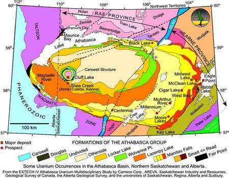 Géologie du bassin de l'Athabasca. Les filons majeurs d'uranium sont situés sur les carrés rouges, et les campagnes de prospection sur les ronds de même couleur. © DR