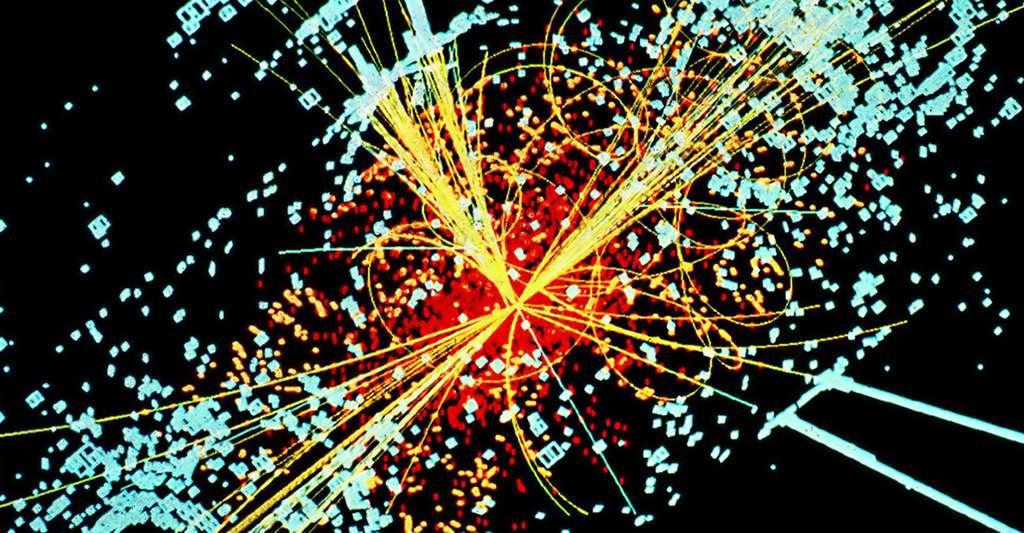 Simulation de la désintegration d'un boson de Higgs en 2 rayons de hadrons. © Lucas Taylor CERN, CC BY-SA 3.0