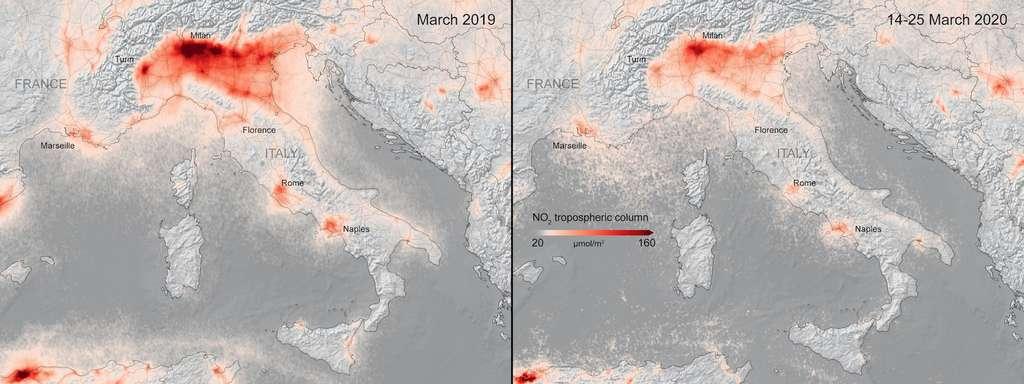 Les concentrations en dioxyde d'azote au-dessus de l'Espagne et de l'Italie. © Copernicus Sentinel, KNMI/ESA, CC by-SA 3.0 IGO