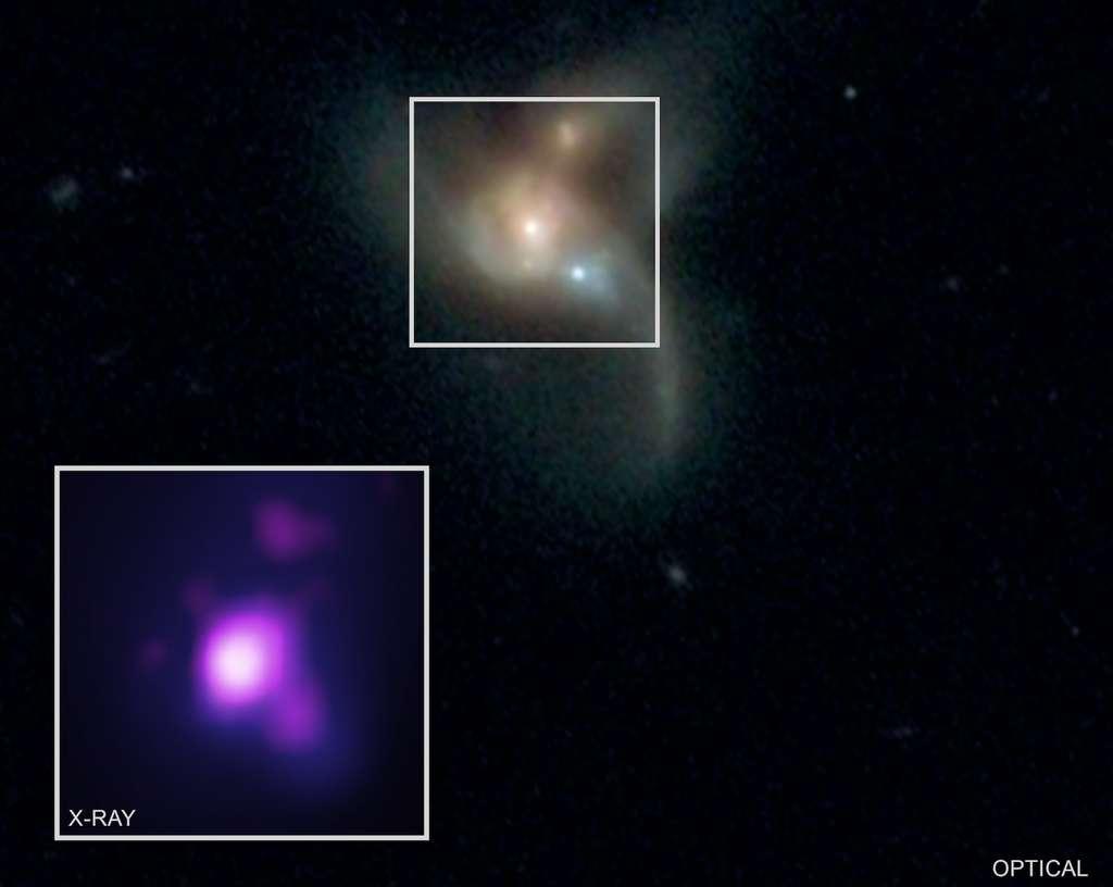 Les chercheurs espèrent pouvoir s'appuyer sur la même méthode pour trouver d'autres systèmes triples de trous noirs supermassifs actifs. Même s'ils continuent de les imaginer plutôt rares, ils pensent qu'ils jouent un rôle crucial dans la façon dont les galaxies évoluent au fil du temps. © X-ray : R. Pfeifle et al., Nasa/CXC/George Mason University ; Optical : SDSS & Nasa/STScI