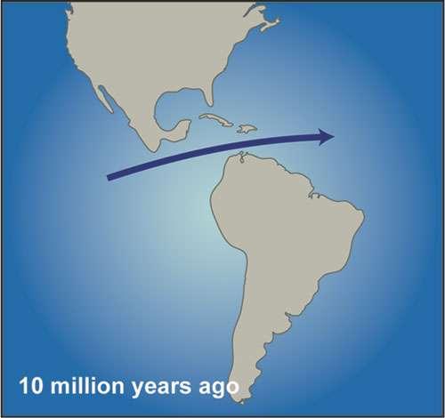 Les eaux de surface du Pacifique pouvaient s'écouler dans l'Atlantique via un corridor marin (le Central American Seaway) voici 10 millions d'années, durant le Miocène. Les deux océans avaient alors la même salinité. © WHOI