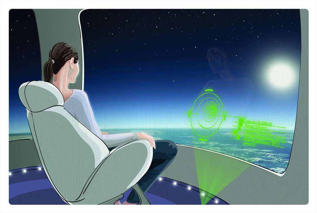Une illustration de ce à quoi pourrait ressembler un voyage en ballon à bord de Bloon. Les opérations commerciales pourraient démarrer dès 2015. © Zero2infinity